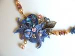 collier baroque,bijou baroque,collier bleu,bijou en pâte polymère,collier en fimo